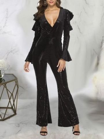 Onlinechoic Black Patchwork Sequin Ruffle Cut Out V-neck Bell Sleeve Sparkly Glitter Party Wide Leg Palazzo Long Jumpsuit