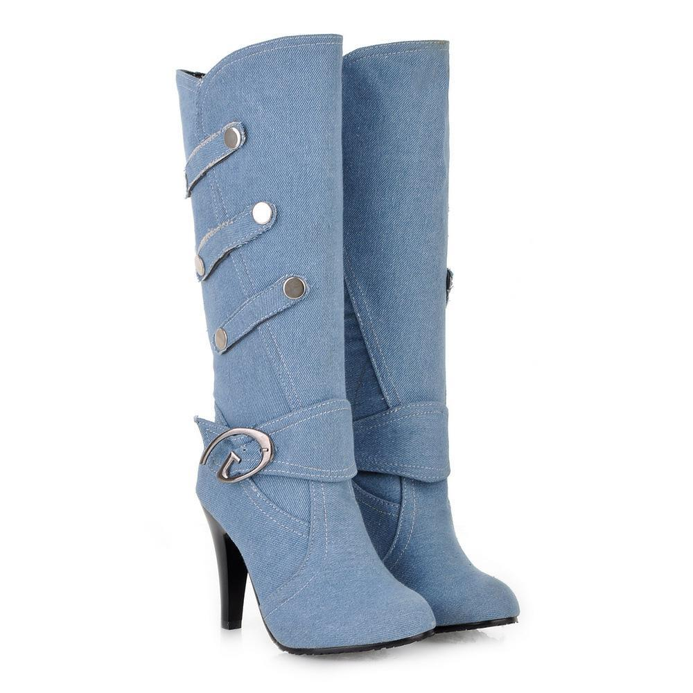 Buttons Decorate Cowboy Style Round Toe High Heels Knee-length Boots
