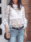 White Floral Lace Flare Sleeve Wavy Edge Casual T-shirt
