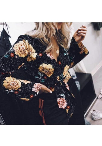 Black Floral Bow V-neck Long Sleeve Fashion Blouse