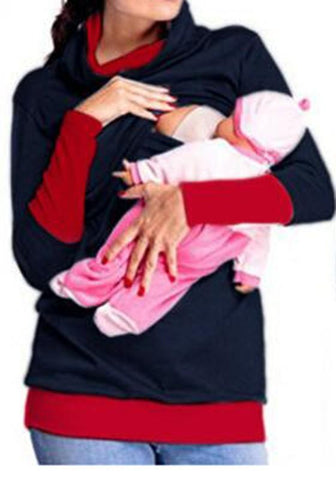 Black Patchwork Double-deck Breastfeeding Maternity Long Sleeve Sweatshirt