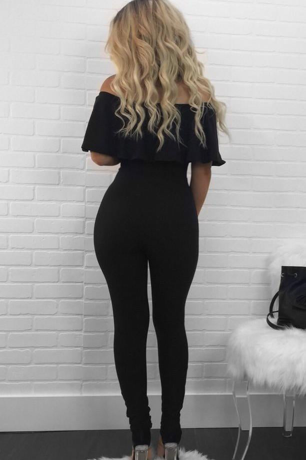 Off Shoulder Short Sleeves Long Ripped Jumpsuit