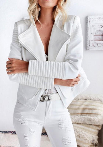 White Patchwork Zipper Irregular Turndown Collar Fashion Coat