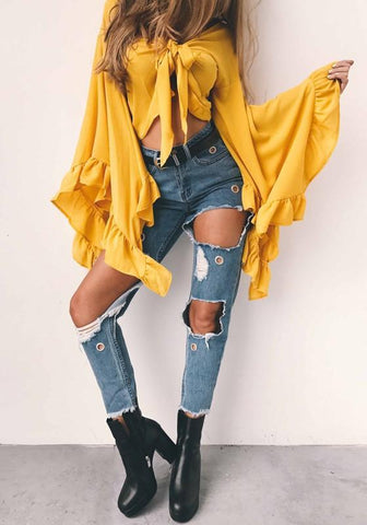 Yellow Bow Ruffle Irregular Homecoming Party Knot Bell Sleeve Sweet Blouses