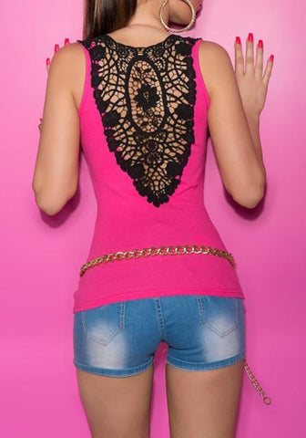 Rose Carmine-Black Patchwork Lace Hollow-out Sleeveless Vest