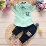 Summer Festive Set Shirt with Buttons + Trousers For Baby Boy