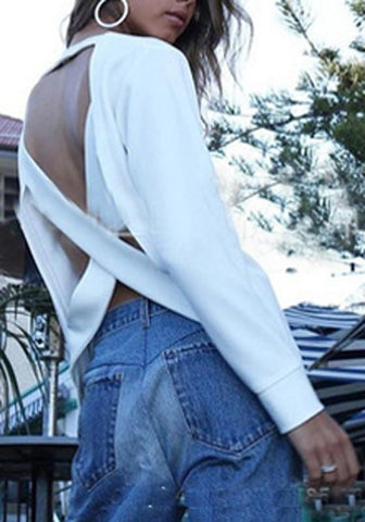 White Cut Out Cross Back Backless Cute Casual Pullover Sweatshirt