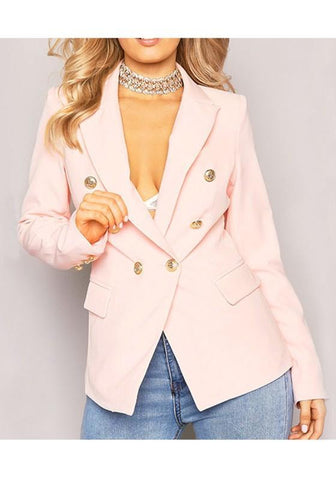 Pink Buttons Peak Lapel Long Sleeve Office Worker Blazer