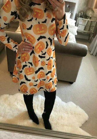 White Pumpkin Head Print Halloween Long Sleeve Round Neck Midi Dress