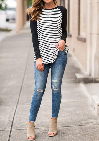 White-Black Striped Round Neck Long Sleeve Casual T-Shirt