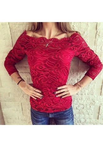 Red Patchwork Lace Hollow-out Boat Neck Elegant Blouse