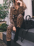 New Brown Leopard Pattern Belt Turndown Collar High Waisted Casual Long Jumpsuit