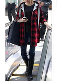 Red Plaid Plus Size Pockets Drawstring Buttons Hooded Long Sleeve Coat