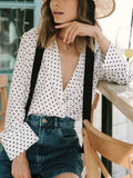 New White Polka Dot Print Turndown Collar Long Sleeve Vintage Blouse