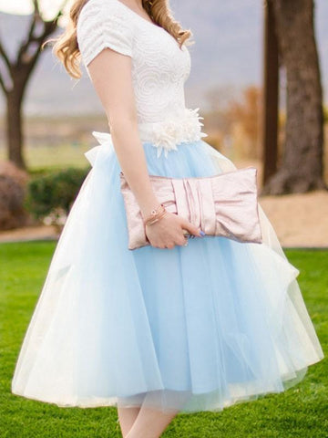 Blue Patchwork Grenadine Pleated Plus Size High Waisted Tutu Cute Homecoming Party Skirt