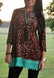 Multicolor Patchwork Leopard Print Lace Hollow-out 3/4 Sleeve Casual Oversized T-Shirt