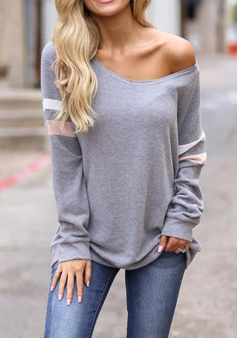 Grey Patchwork Print Round Neck Long Sleeve Casual Pullover Sweatshirt