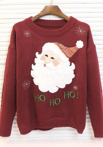 Burgundy Floral Embroidery Santa Claus Round Neck Long Sleeve Cute Pullover Sweater
