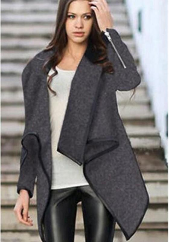 Grey Irregular Peplum Turndown Collar Plus Size Boyfriend Casual Wool Coat