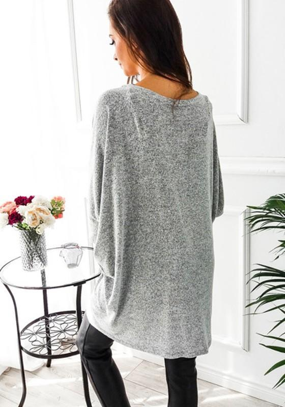 Grey Irregular Long Sleeve Casual Cotton Batwing Coat