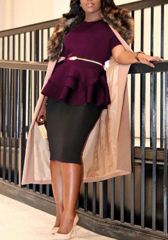 Purple Cascading Ruffle High Waisted Peplum Formal Office Worker/Daily Elegant Blouse