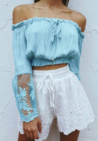 Light Blue Patchwork Lace Grenadine Bandeau Off Shoulder Crop Blouse