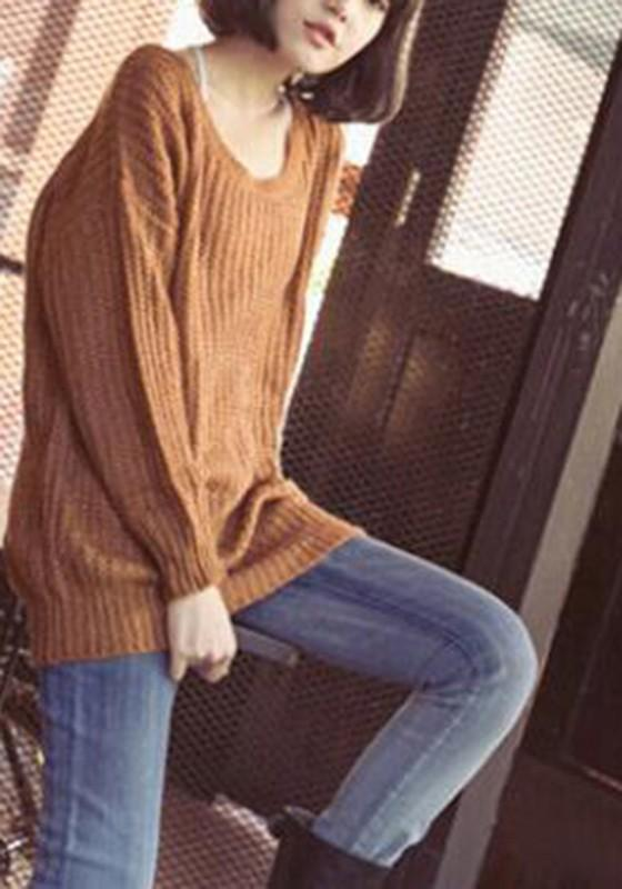 Yellow Oversized Knitted Batwing Sleeve Jumper Pullover Sweater Jumper