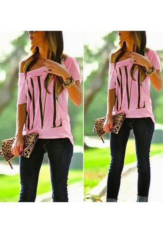 Pink Monogram Round Neck Short Sleeve Fashion T-Shirt