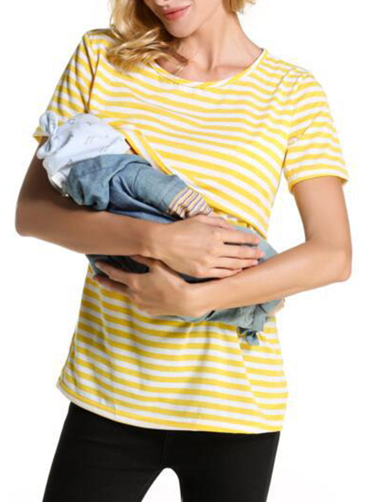 Newbabychic Functional Front Open Striped Maternity Nursing Tops