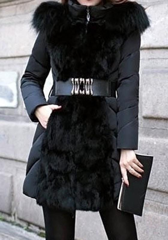 Black Patchwork Belt Fur Hooded Long Sleeve Coat