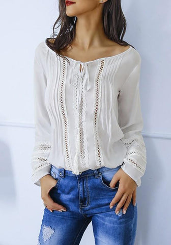 White Lace Drawstring Lace-up Sweet Office Worker/Daily Blouse