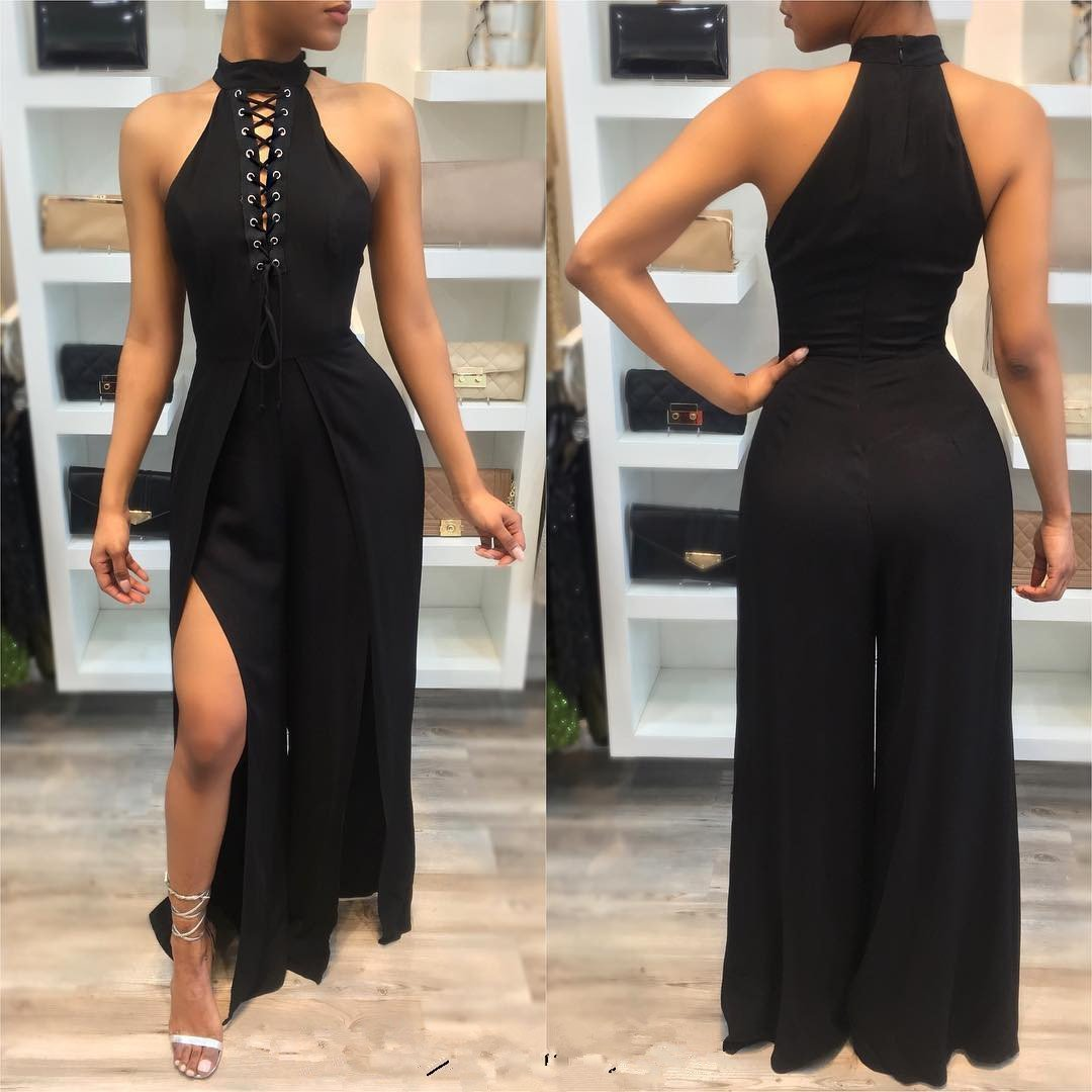 Pure Color Scoop High Neck Long Wide Leg Split Jumpsuit