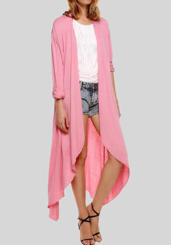 Pink Irregular Long Sleeve Casual Coat