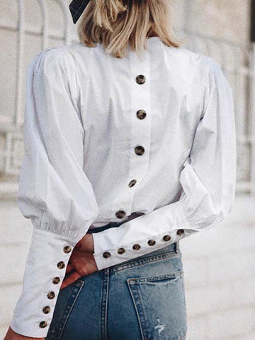 New White Patchwork Buttons Round Neck Fashion Blouse