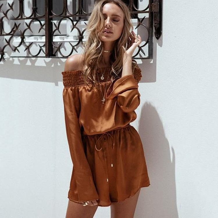 Pure Color Off Shoulder Long Sleeves Short Backless Jumpsuit