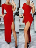 Red One Shoulder Slit Long Sleeve Cocktail Party Maxi Dress