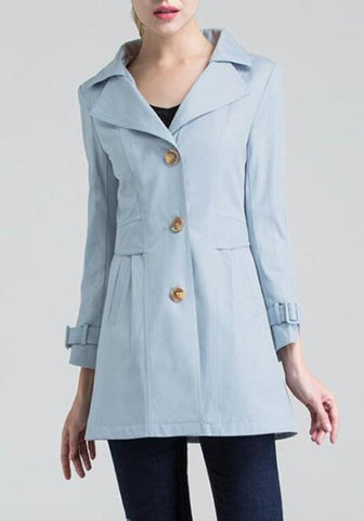 Blue Single Breasted Buttons Trench Coat