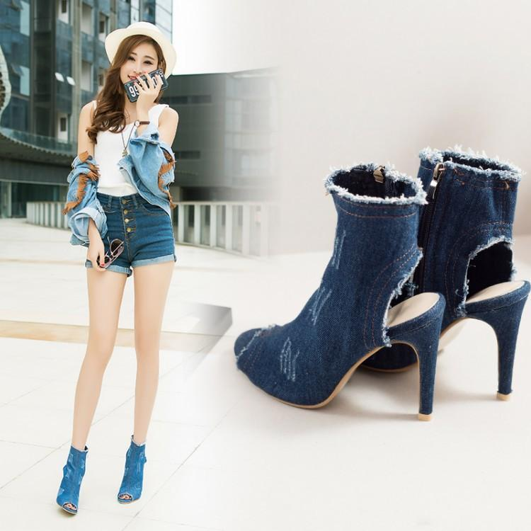 Cowboy Peep Toe Cut Out Side Zipper Short Boot Sandals