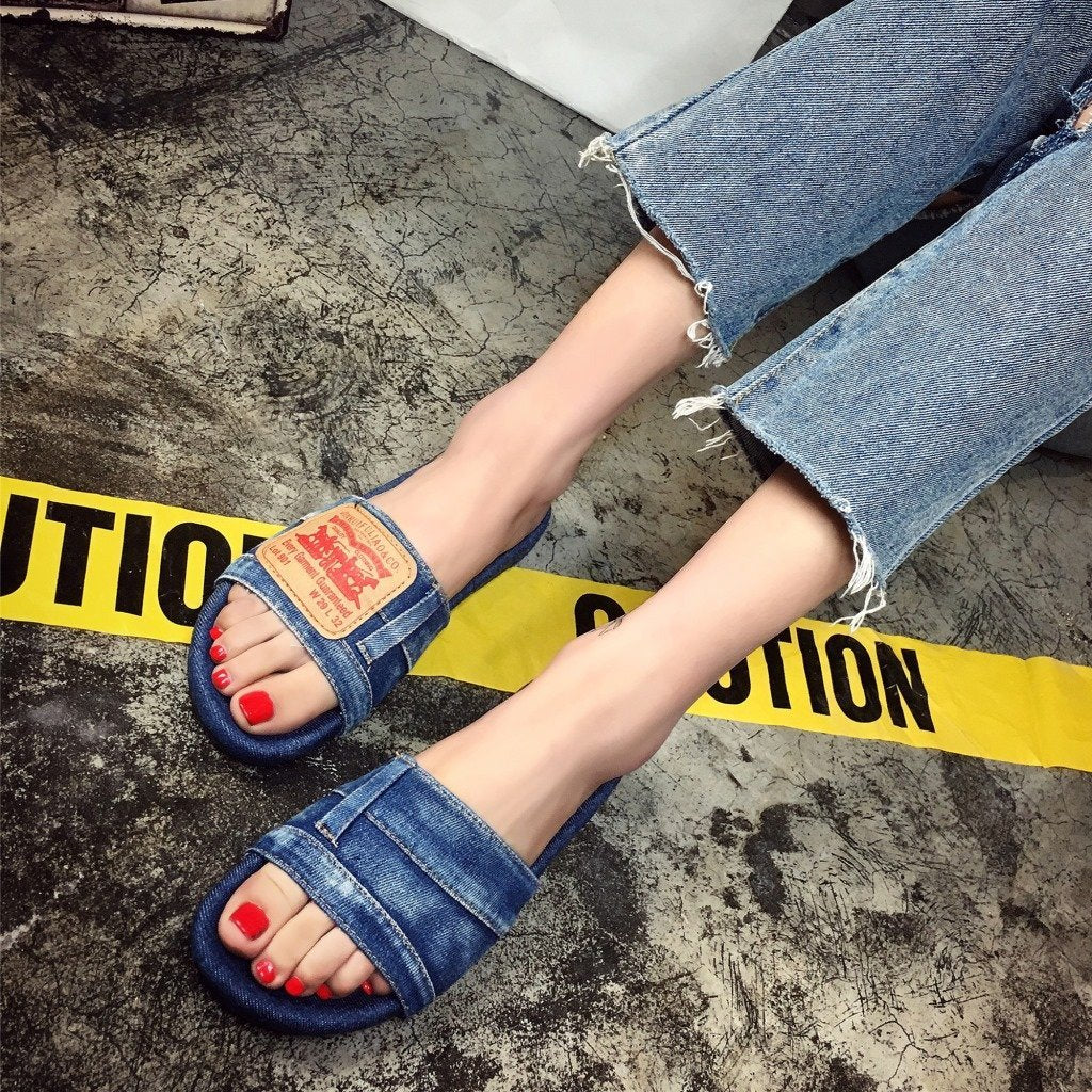 Flat Cowboy Cloth Open-toe Slipper Sandals