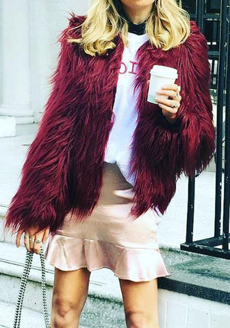New Burgundy Draped Long Sleeve Faux Fur Fashion Coat