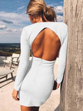 Onlinechoic White Cut Out Bodycon Deep V-neck Long Sleeve Streetwear Mini Dress