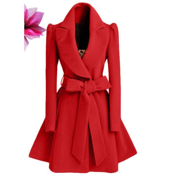 New Pure Color Belt V-neck Bowknot Belt Long Sleeves Long Coat