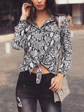 Onlinechoic Grey Floral Snakeskin Pattern Print Single Breasted Pockets Irregular Turndown Collar Long Sleeve Fashion Blouse