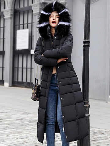 New Black Fur Pockets Sashes Single Breasted Zipper Hooded Long Sleeve Elegant Coat