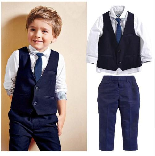 New Boys Formal Suits for Weddings Boys Formal Party Gentleman Suits Tops Shirt Waistcoat Tie Pants