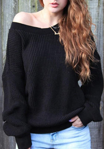 Black Asymmetric Shoulder Long Sleeve Oversize Pullover Sweater