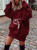Red Cat Print Pockets Drawstring Hooded Long Sleeve Casual Sweatshirt