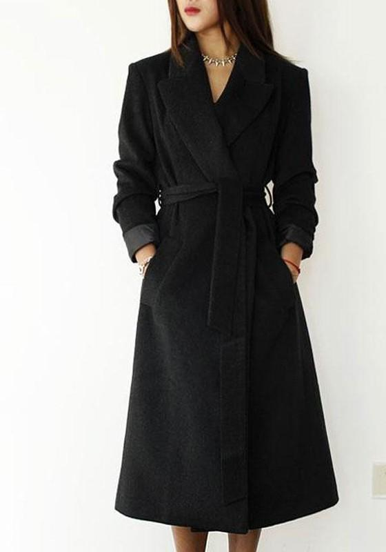 Black Pockets Sashes Tailored Collar V-neck Long Sleeve Wool Coat