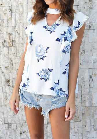 White Floral Cut Out Ruffle Cap Sleeve Casual Chiffon Blouse