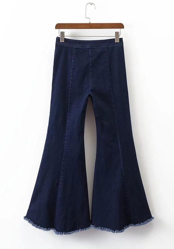 Dark Blue Pockets Buttons Irregular Tassel High Waisted Mom Flare Bell Bottom Long Jeans